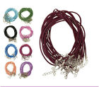 Wholesale Lot 10/100PCS Leather DIY with Lobster Clasp Charms Cord Necklace 2MM
