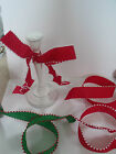 Red with White Pom Pom / Snowball edge Christmas Cake - Luxury Wire Edged Ribbon