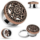 One Pair Bronze Plated Tribal Lotus Top Screw Fit Hollow Tunnels Gauges Earrings