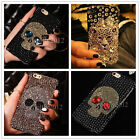 Luxury Bling Rhinestone Diamond Crystal Skull Head Back Phone Case Cover Skin