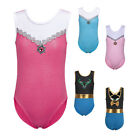 Kids Girls Bowknot Gem Gymnastics Leotards Ballet Sport Training Bodysuit 3-12Y