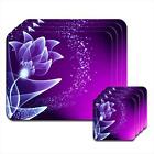 Purple & Magenta Flower Elegant Pattern Coaster & Placemat Set