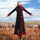 Womens Fashion Winter Fur Collar Long Windbreaker Chinese Style Warm Padded Coat