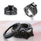 Deluxe Womens Black Gold Square Black Sapphire Party Engagement Wedding Ring Set