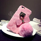Bling Ball Rabbit Fur Fluffy Bow Phone Case Cover For Apple iPhone 6s 7 Plus