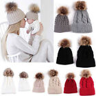 2PCS Women Mom Mother Baby Knit Pom Hat Kids Girls Boys Winter Warm Beanie Cap