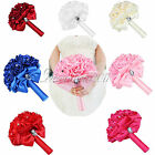 Many Color Satin Rose Flowers Posy Bridal Bouquet for Bride Wedding Supplies Hot