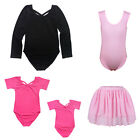 Children Girls Strap Ballet Leotards Gymnastic Dance Bodysuit Tutu Skirt 3-14Y