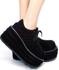 New Women's Shoes Lace Up Gothic Punk Round Toe Slouch Creeper Platform Shoes