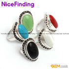 Fashion Oval Stone Enternal Rings For Women Tibetan Silver Jewelry Birthday Gift