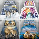 3D Animal New Quilt Doona Duvet Cover Pillowcases Set Queen King Super Bedding