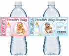 20 TEDDY BEAR BABY SHOWER FAVORS WATER BOTTLE LABELS GLOSSY