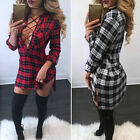 NEW Women Lace-Up Plaid Check Mini Dress Bandage Plunge V Neck Party Shirt Dress