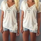 Women Summer Vest Top Lace Short Sleeve Blouse Casual Tank Tops T-Shirt ED Lot