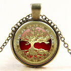 Gold Tree of Life Cabochon Glass Silve Bronze Necklace for Women Men Jewelry