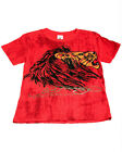 Ed Hardy Boys Bright Red Cotton Marble Tee Shirt - Lion Motif, Short Sleeve