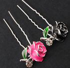 6x Black & Hot Pink Rose Bridal Wedding Hair Pins Clips w/ Rhinestone