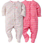 """Gerber 2 Pack White/Pink Allover Floral and """"Smiles & Giggles"""" Printed Zip Up"""