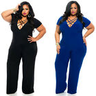 Fashion Women Plus Size Clubwear V Neck Playsuit Party Jumpsuit Romper Trousers—