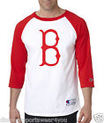 Boston Red Sox B Logo Champion Baseball Raglan Shirt Jersey Tee Mens White Red
