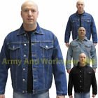 DENIM JACKET TOUGH HEAVY DUTY CLASSIC WESTERN STYLE MENS CASUAL LOOK NEW VINTAGE