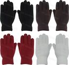 Ladies Womens Double Knitted Thermal Lined Plain Gloves Adults Winter Warm