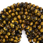 """Faceted Tiger Eye Round Beads Gemstone 15"""" Strand 4mm 6mm 8mm 10mm 12mm"""