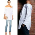 TIBI NEW YORK  LUXE Cotton TUXEDO OFF-SHOULDER BOW TOP in white NWT
