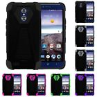 For ZTE Imperial Max / Max Duo 4G LTE Dual Layer Hard Soft Kickstand Case Cover