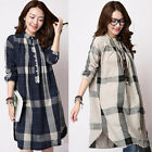 B&N Women Cotton Long-sleeved Casual Shirt Plaid Dress Simple Blouse Top