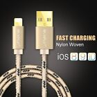1M 2M Gold Data Charger Cable Nylon Woven Sync Cable for iPhone 7 7 6 6s Plus