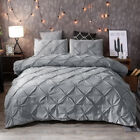 Pintuck Queen/King Size Duvet Doona Quilt Cover Set New Silver Grey Diamond 2484