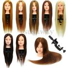 26' 100% Real Hair Practice Training Head Mannequin Hairdressing Doll + Clamp US