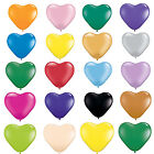 Pack of 6 Qualatex Heart Shaped Latex Party Balloons - Choice of Sizes & Colours