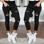 US STOCK Women Denim Skinny Ripped Pants High Waist Stretch Slim Pencil Trousers