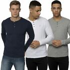 Kangol Mens Casual Long Sleeved T-shirt Button Fastening Lounge Tee Sizes S�XXL
