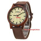 BEWELL Fashion Men's Wooden Watch With Zebra Wood Case Coffee Canvas Band