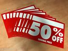 SALE CARDS 50% OFF RED WHITE PROMOTIONAL SALES SIGNS PRICE TICKETS DISCOUNT NEW