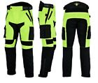 Texpeed Mens Black & Hi Vis Waterproof Motorcycle Trousers With CE Armour