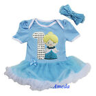 NEW Baby Cinderella Princess Romper Bodysuit Bling 1st Birthday Tutu Party Dress