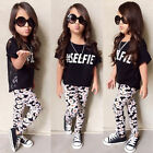 2Pcs Toddler Kids Girl Tops T-Shirt Floral Pants Outfits Set Clothes USA Seller