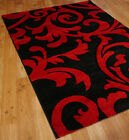 "Carved floral design rug in Black and Red 120x170cm (4'x5'6"") A3"