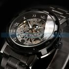 Mens Transparent Steampunk Skeleton Mechanical Black Stainless Steel Wrist Watch