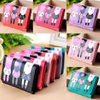 Women Cat Pattern Coin Purse Clutch Leather Short Wallet Card Holders B20E