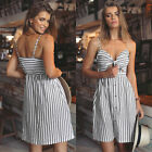 Womens V Wrap Stripes Slim Fit Strap Sundress Summer Beach Party Cocktail Dress