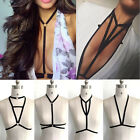Uk Alluring Women Harness Bra Elastic Cage Bra Black Strappy Hollow Out Bra
