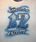 SENIOR  CLASS OF 17 HOODIE AIRBRUSHED HOODED SWEATSHIRT PERSONALIZED 2017  NEW..