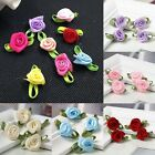 100 Mini Satin Ribbon Rose Flower With Leaf Wedding/Sewing/Trim/Bow/Craft/Favors