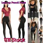 Womens High Waist Slim Fit Legging Pencil Pants Skinny Bandage Lace Up Trousers