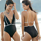 Women Ladies Backless Plunging Neck High Waisted Bikini One Piece Swimwear New
